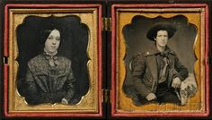 "Two Sixth Plate Daguerreotype Portraits of a Young Man in Uniform and a Young Woman, together in a brown ""The Faithful Hound"" (Krainik 141) Union case"