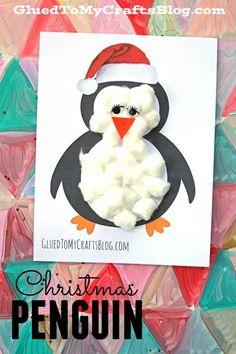 Cotton Ball Christmas Penguin - Kid Craft