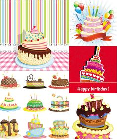 Birthday cake templates vector