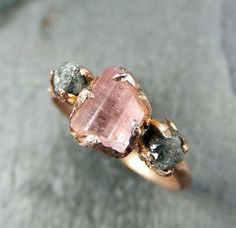 Rose gold and raw pink tourmaline: a match made in jewelry heaven. #etsy