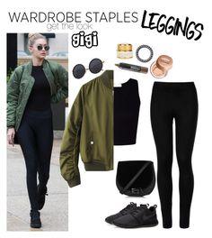 """get Gigi's legging look"" by weightlessdreams ❤ liked on Polyvore featuring Wolford, NIKE, Maybelline, Haeckels, Leggings and WardrobeStaples"