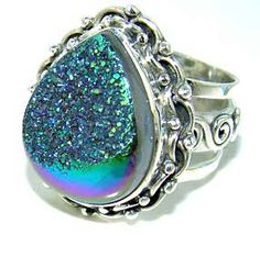 Beautiful item with Coated Drusy Gemstone(s) set in pure 925 sterling silver.