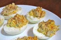 Deviled eggs with crab meat. Literally making my mouth water!!