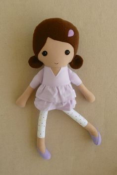 Fabric Doll Rag Doll Brown Haired Girl in Lavender by rovingovine
