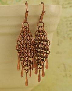 Copper Chainmaille Earring Kit - European 4 in 1 Diamonds and Fringe. $14.00, via Etsy.