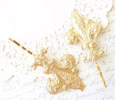 Golden Fleur De Lis Hair Pins  Gold Fleur De Lis by NestingPretty