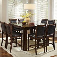 Nice American Heritage Granita 9 Piece Dining Table Set With Devera Stools