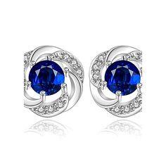 Véritable Plaqué Platine élégant Rond Bleu Zircone Cubique Femmes Dame Boucles d/'oreilles Créoles