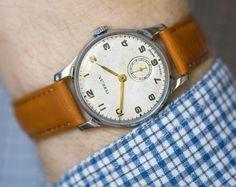 Soviet classic watch Pobeda mid century men's watch by SovietEra