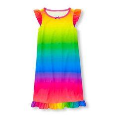 266791ed014f9 s Short Flutter Sleeve Rainbow Ombre Ruffle Hem Nightgown - Multi - The  Children s Place Children s
