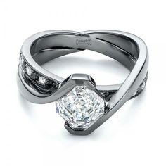 Custom Black and White Diamond Engagement Ring #103342 - Joseph Jewelry