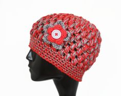 Crochet Bubble Hat with Flower, Ohio State Buckeyes, Red and Grey, Womens Winter Fashion - READY TO SHIP