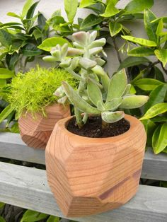 DIY Redwood 'Rock' Planters - A great tutorial by jmc75 on Instructables. Build your own plant pots using 2x4s.