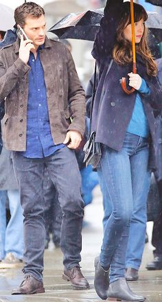 March 07, 2016 » Dakota Johnson and Jamie Dornan on the set of Fifty Shades Darker in Gastown, Vancouver • First look of the day as Anastasia Steele and Christian Grey # Jamie is...