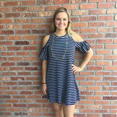 Cold Shoulder Striped Dress