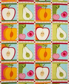 white patchwork fruit fabric by Robert Kaufman USA