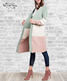 3f03b7f790 Color Blocked Long Sweater - Pastel Pastel Roses