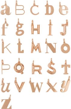 """Monica Vinader A-Z Alphabet Letter Rose Gold-Plated Pendants // As seen on Eleanor Calder in her blog post on The Trend Pear, """"Silk Sets,"""" from September 7, 2015."""