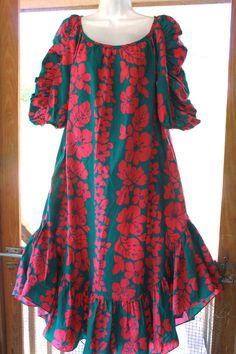 Hilo Hattie Red Floral MuuMuu Dress Large Women's Hawaiian Hibiscus Hot Pink #HiloHattie #MuuMuu