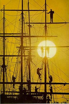 Silhouettes on a boat's rigging at Mystic Seaport, Connecticut  National Geographic | August 1968