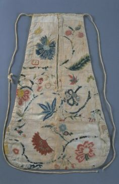 Throughout the 18th and early 19th centuries pockets were not attached to women's and girls' clothing. One or two pockets would have strings attached and would be tied on to the waist before the gown was put on. Gowns had slits in the side for access to pockets. Even a beautifully embroidered pocket such as the one depicted here, was not meant to be seen, as it sometimes contained personal or valuable items.