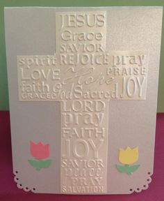 dry embossed cross and punched tulips