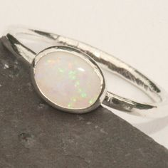 White Opal Ring Fine Silver Flash Opal US Size 7 Ring Handmade by Maggie McMane Designs on Etsy, Sold