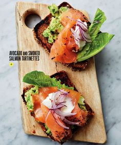 Buvette's Avocado and Smoked Salmon Tartinettes Brunch Recipes, Appetizer Recipes, Appetizers, Cooking Recipes, Healthy Recipes, Easy Cooking, Smoked Salmon, I Love Food, Soul Food