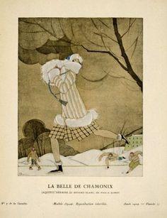 """""""La Belle de Chamonix: Jaquette hermine et renard blanc, de Max-A. Leroy"""", Charles Martin, Gazette du Bon Ton, 1924; MFA 2004.62.5"""