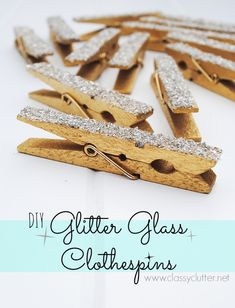 DIY Glittered Clothespins - These are adorable to clip to a memo board or add magnets for the fridge! I love love love these! www.classyclutter.net