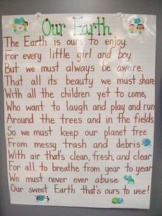 Earth Day Poster from Mrs. Terhune's First Grade Site! - Earth Day Poster from Mrs. Terhune's First Grade Site! Earth Day Poster from Mrs. Terhune's Fir - Earth Day Projects, Earth Day Crafts, Earth Day Activities, Science Activities, Science Lessons, Earth Day Poems, All About Earth, Save Our Earth, Kids Poems