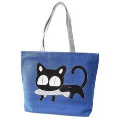 Girl cat eat fish shopping bag Shoulder Women Handbags beach tote bags handbags blue #Affiliate