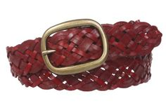 1 1/2'' (37 mm) Womens Oval Braided Woven Leather Belt Size: M/L - 36'' Color: Red Made by #beltiscool Color #Red. Oval buckle. Soft thin leather. 100% hand braided