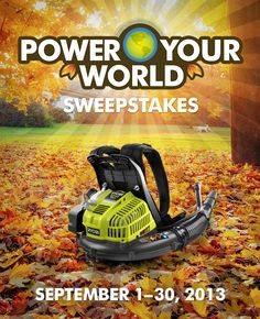 Enter to win the RYOBI Backpack blower! Our most powerful residential backpack blower. Ever.