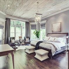♡ Gorgeous Grey bedroom. Really love the hardwood floors, grey walls, and wood plank ceiling. Gorgeous floor to ceiling windows