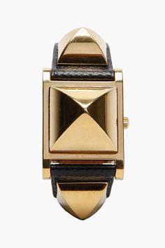 HERMES VINTAGE Black Medor 9X Swift Leather Studded Watch