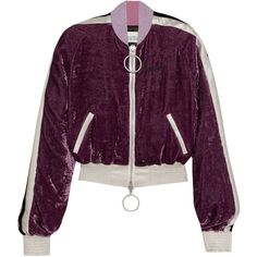 Off-White Satin-trimmed crushed-velvet bomber jacket (€960) ❤ liked on Polyvore featuring outerwear, jackets, bomber, crushed, net-a-porter, evening jackets, bomber style jacket, bomber jackets, flight bomber jacket and cocktail jackets