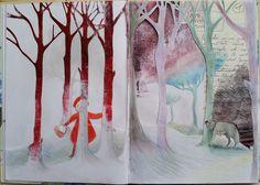 """""""Cappuccetto e il Lupo"""" tavola 2 di 4 - TM su sketchbook"""