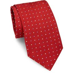 Brioni Dots Pattern Silk Tie (5.940 RUB) ❤ liked on Polyvore featuring men's fashion, men's accessories, men's neckwear, ties, mens red tie, mens ties, mens silk ties and mens polka dot ties