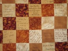 Quilt guest book. Good idea, my mother in law and I talked about this!