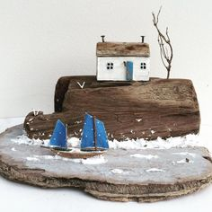 miniatures by Kirsty Elson Driftwood Sculpture, Driftwood Art, Sculpture Art, Sculptures, Beach Crafts, Crafts To Do, Home Crafts, Architectural Sculpture, Driftwood Projects