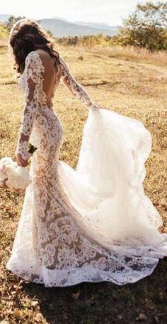Romantic Long Lace Backless Long Sleeve Mermaid Ivory Wedding Dresses #wedding #weddingdress #lace #mermaid #longsleeve #backless #long