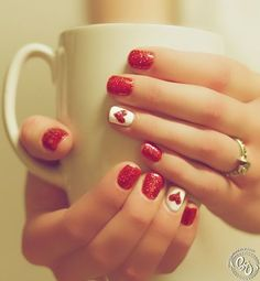 Valentine's Day Nail Design Red and White
