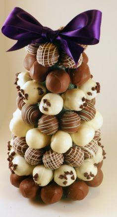 Truffle Tower for the dessert buffet. LOVE this! Might have to use this next week since we have truffles on the menu.