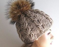 Slouchy Beanie Slouch Hats Oversized Baggy Gray cabled by Lacywork