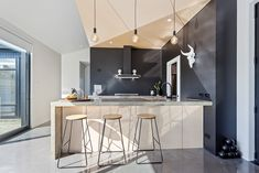 Shiplap Cladding, Black Barn, White Subway Tiles, Building Companies, Polished Concrete, Home Reno, Modern Farmhouse, Home And Family, New Homes