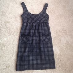 Forever 21 Plaid Dress Jumper Black Gray S Wool Size Small.  Like new condition.  70% Polyester 20% Wool 10% Acrylic.  Lining is 100% polyester, comfortable fabric inside.  Zips in back. Forever 21 Dresses