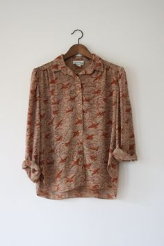 Printed Bird Blouse / Campus Casuals of California by shopatniche, $33.00