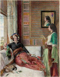 Hareem Life - Constantinople (w/c, b/c & pencil with gum arabic on paper) , Lewis, John Frederick (1804-76).