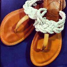 Roxy sandals with knotted white rope
